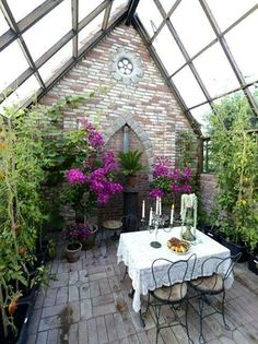 Stone ruins transformed into a sweet greenhouse.