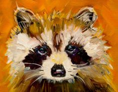 ARTOUTWEST WOODLAND CREATURE RACCOON ANIMAL ART CRITTERS By Diane Whitehead, painting by artist Diane Whitehead