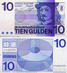The beautifully designed 10 Guilder bill. Before the Euro took over in 2002 this was the official currency in the Netherlands.
