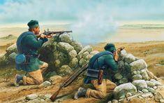 """Francotiradores británicos, de la """"Rifle Brigade"""" Parecen ir armados con fusiles rayados Enfield P-1853. Llevan la guerrera verde y el gorrillo cuartelero de estas tropas ligeras, lo que no me cuadra mucho son los pantalones color caqui o tierra. Peter Dennis"""