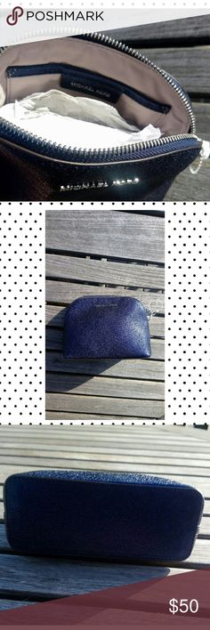Michael kors clutch makeup pouch sparkle glitter NWT navy blue zipper bag Michael Kors Bags Cosmetic Bags & Cases