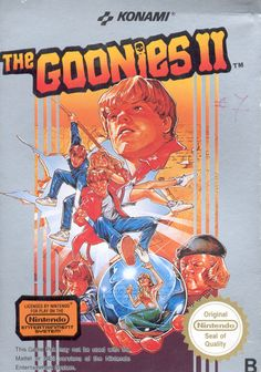 "Box art for ""Goonies II,"" an adventure-platformer based on the ""Goonies"" movie that was released by Konami for the Nintendo Entertainment System in Vintage Video Games, Classic Video Games, Retro Video Games, Vintage Games, Video Game Art, Retro Games, Classic Nes Games, Pc Games, Arcade"