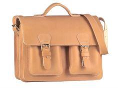 Ruitertassen Schultasche Lehrertasche mit 2 Fächer (A4 Format) 2 Vortaschen Tragegriff und Schultergurt - Farbe natur (wird im Laufe der Zeit ein sehr schöner cognac Farbton werden)