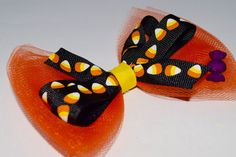 Girls Halloween Tulle Candy Corn Hair Bow Handmade Girls Candy Corn Black Orange Halloween Tulle Bow Halloween Candy Tulle Bow by RachelsHairBowtique on Etsy