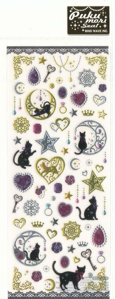 Sticker Sheet by Mind Wave INC.    Comes with Black Cats and Jewelries drop epoxy gem stickers ! Very Fancy!    Other Pukumori Sticker Sheets are Also