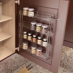 Deeper Shelves for Bigger Jars and Bottles Solid Oak Spice Rack 4 Tiers Freestanding on a Worktop or Wall mounted with Wall Fixings SilverAppleWood OAK48CONT4 Holds Up To 48 Spice and Herb Jars