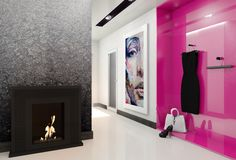 Black biofireplace JANUARY by kratki.pl. Modern interior white and pink.