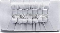 Clutch, Umhängetasche, Unterarmtasche aus Satin mit top modischer raffung mit schicker Straßstein Verzierung mit abnehmbare Kette (120 cm), Farbe:Silber