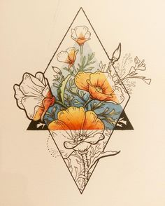 Tattoos I love this idea with my families birth flowers with an earth symbol in the tria. I love this idea with my families birth flowers with an earth symbol in the triangle. Back of my arm would be perfect. Kunst Tattoos, Tattoo Drawings, Body Art Tattoos, Sketch Tattoo, Tatoos, Tattoo Skin, Woman Tattoos, Earth Symbols, Skin Art