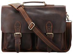 Mens Crazy horse Leather Shoulder Laptop Briefcase Travel Business Tote Messenger Bag Satchel Handbag