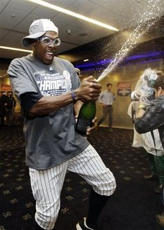 October 3, 2012: #14 Curtis Granderson celebrating after clinching the American League East title.