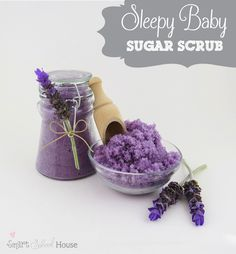 Sleepy Baby Sugar Scrub. Made with ingredients to help you sleep like a baby! #scrub