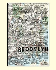 Brooklyn Boroughs Poster by brooklynmadestore on Etsy, $40.00
