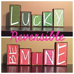 Reversible St. Patrick's Day AND Valentine's Day Theme Home Decor Wood Blocks - Lucky / Be Mine - (rustic version)
