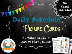 Printable Picture Schedule Cards for Pocket Charts in preschool, pre-k, and kindergarten.  Look more at the site later.