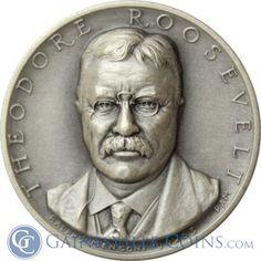 Theodore Roosevelt Presidential Silver Art Medal - Medallic Art  #roosevelt http://www.gainesvillecoins.com/category/293/silver.aspx