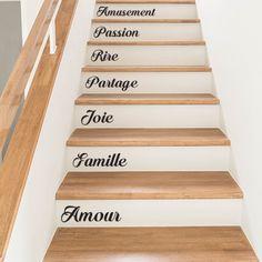 Stickers mots personnalisés pour contremarche d'escalier par Optimistick