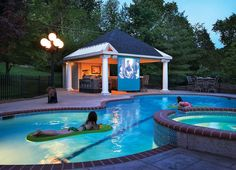 Stick Style Pool House With Fireplace Pool Houses Pinterest