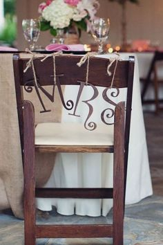 """""""Mrs"""" sign for our bride/groom sweetheart table at our wedding last July"""