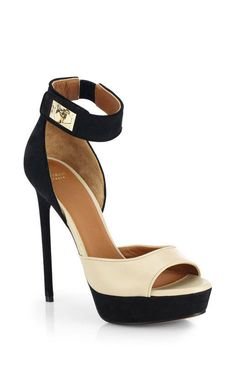 Givenchy >> Beige Bicolor Leather Suede Platform Sandals