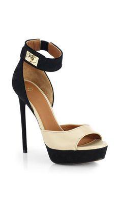 Givenchy >> Beige Bicolor Leather Suede Platform Sandals