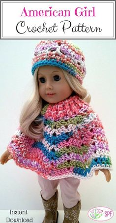 I love this crochet pattern!! I want to make this poncho for my daughters American girl doll.  #americangirl #crochetpattern #affiliate #dollclothes #etsyshop