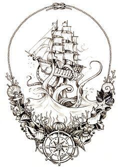 Would make a BA thigh piece! Would make a BA thigh piece! Would make a BA thigh piece! Would make a BA thigh piece! 1 Tattoo, Leg Tattoos, Tattoo Drawings, Body Art Tattoos, Cool Tattoos, Tattoo Ship, Pirate Ship Tattoo Thigh, Pirate Tattoo Sleeve, Kracken Tattoo