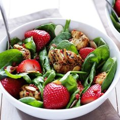 Turn spinach salad into a main dish entree with the addition of chicken, strawberries, almonds and Bac'n Pieces.