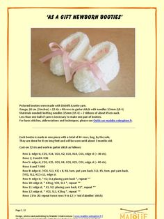 Knitting for Premature Babies Baby Hat Knitting Patterns Free, Baby Booties Knitting Pattern, Baby Hat Patterns, Baby Hats Knitting, Crochet Baby Booties, Crochet Sole, Knitted Booties, Knitting Charts, Knit Patterns