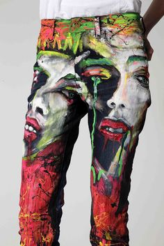 BLACKlog: The Art of Denim - Online auction live on Trade Me- Painted pants.
