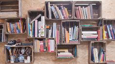 crates for books (from Chrissy Poitras + Kyle Topping home tour)