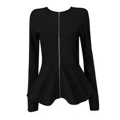 a6172e7bf67a New in Womens Fashion Autumn White Long Sleeve HL Rayon Bandage Jackets  with Fluted Hem Collarless