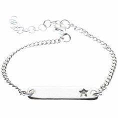 Bracelet sur chaîne avec plaque étoile personnalisable (argent 925°) - Marie.Laure.T