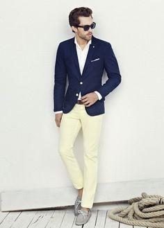 Navy sport coat, white shirt with blue dress stripes, burgundy ...