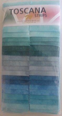 Toscana Strips~Lagoon~by Northcott~Fabric Strips 2.5 x 44 x 40~ Fast Shipping JR165