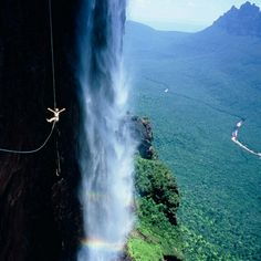 Angel Falls Venezuela. I'd love to go here but I won't be bunjee jumping off it!!