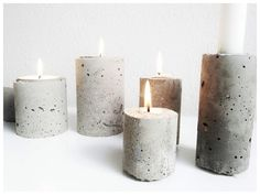 DIY | Concrete Project A fast and easy project. We can help you with some stain to turn your candle into old-world style art pieces. #Christmas #thanksgiving #Holiday #quote