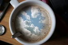 """""""i had some dreams there where clouds in my coffee. clouds in my coffee and you're so vain i bet you think this song is about you. Coffee Break, I Love Coffee, Coffee Art, Morning Coffee, Coffee Cups, Tea Cups, Happy Coffee, Happy Morning, Cafe Rico"""