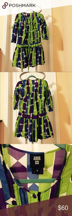 Anna Sui drop waist dress, size 0. Anna Sui drop waist dress, color:green/blue. Size:0. Worn once. Adjustable tie at the waist. Length:about 32.5 inches. Anna Sui Dresses