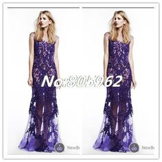 2014 Reem Acra Sexy Mermaid High Neck Appliques Evening Dress Lace vestido de festa Prom Gowns Floor Length See Through D60 $164.99