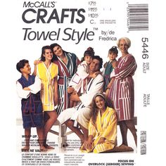 Hooded Wrap Robe Pattern McCalls 5446 Made of Towels or Fabric Adult Size S M L XL UNCUT