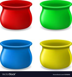Empty color Pots vector image on VectorStock Teaching Kids Colors, Kindergarten Colors, Teaching Shapes, Flashcards For Toddlers, Preschool Worksheets, Bears Preschool, Preschool Art, Color Activities, Preschool Activities