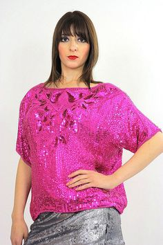 7fd2d915f25aaa Sequin beaded top sequin top party top pink by SHABBYBABEVINTAGE Disco  Fashion