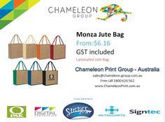 Monza Jute Bag - Chameleon Print Group - Australia  http://chameleonprint.com.au/product/monza-jute-bag/