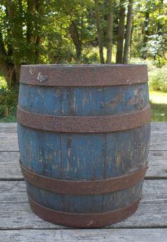 Sweet Antique Primitive Old Wood Paint Barrel Bucket Pail Old Blue Paint #CountryPrimitive
