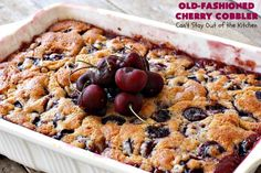 Old-Fashioned Cherry Cobbler – Can't Stay Out of the Kitchen Old Fashioned Cherries, Toddy Recipe, Cherry Muffins, Herb Bread, Cherry Cobbler, Those Recipe, Glass Baking Dish, Holiday Desserts, Real Food Recipes