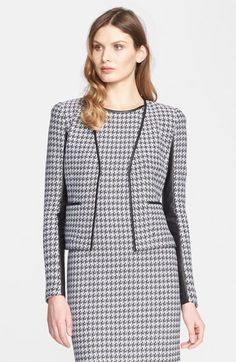Same jacket different look. St. John Collection Leather Trim Houndstooth Tweed Jacket available at #Nordstrom
