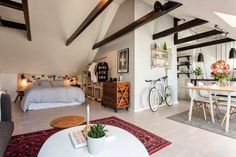 The interior Casa Loft, Loft House, Tiny Spaces, Small Apartments, Love Your Home, Ideal Home, Dream Apartment, Apartment Living, Small Space Living