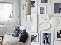 small apartment decorated in white with different textures and shades, with natural wood accents - make for a spacious, bright space. #apartment_design #white