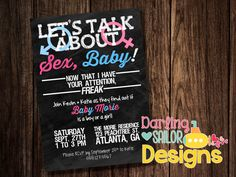 Gender Reveal Invitation Let's Talk about by DarlingSailorDesigns
